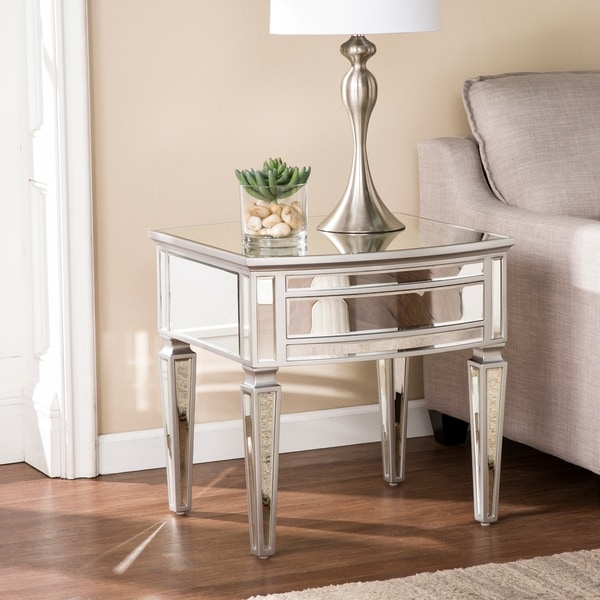Tilton Silver Glam Mirrored End Table
