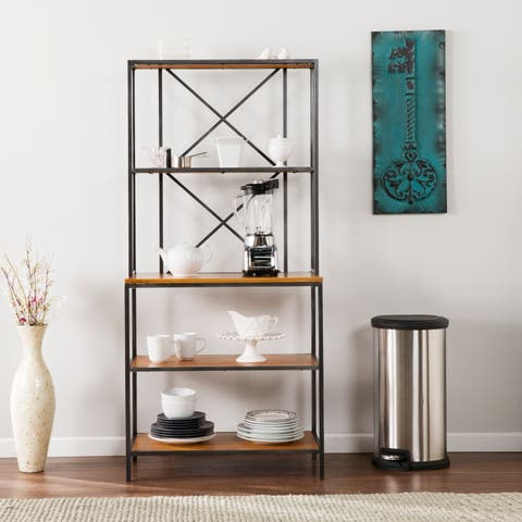 Carbon Loft Goode Black and Honey Pine Bakers Rack