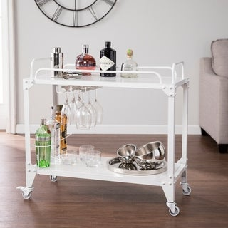 Carbon Loft Pasanen Distressed White Mobile Bar Cart