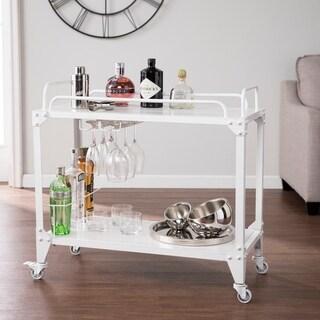 Porch & Den Midvale Distressed White Mobile Bar Cart