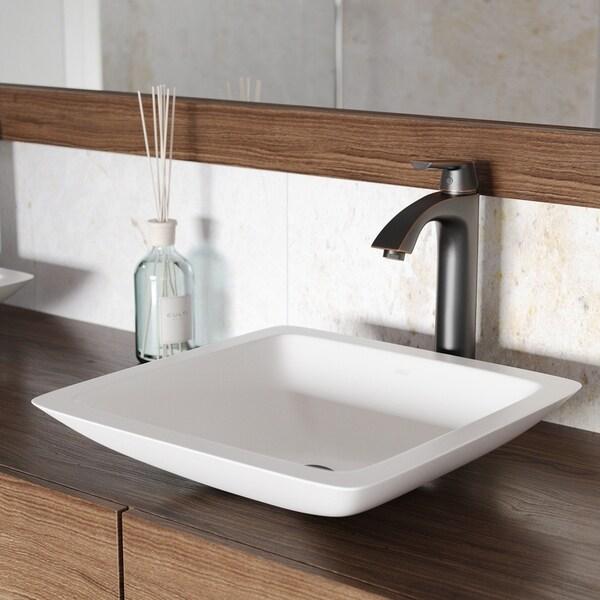 VIGO Begonia Matte Stone Vessel Bathroom Sink and Linus Faucet Set
