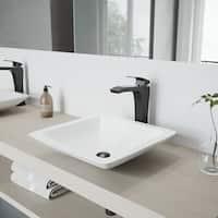 VIGO Begonia Matte Stone Vessel Bathroom Sink and Blackstonian Faucet