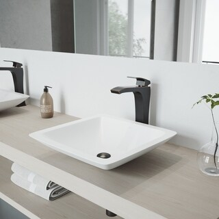 VIGO Begonia Matte Stone Vessel Bathroom Sink Set With Blackstonian Antique Rubbed Bronze Vessel Faucet