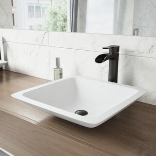 VIGO Begonia Matte Stone Vessel Bathroom Sink and Niko Faucet Set