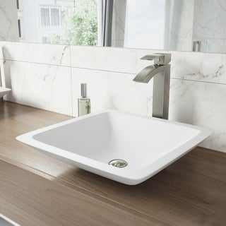 VIGO Begonia Matte Stone Vessel Bathroom Sink Set With Duris Brushed Nickel Vessel Faucet