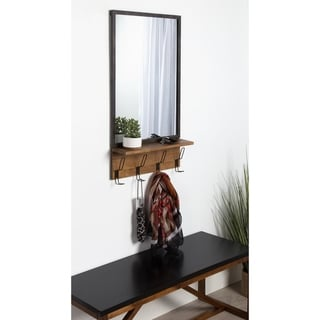 Kate and Laurel Coburn Distressed Metal Mirror with Wood Shelf - 20x36.5