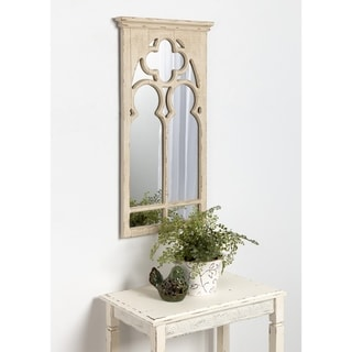 Kate and Laurel Mirabela Arch Framed Wall Mirror, White - 16.5x31.5