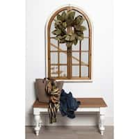 Kate and Laurel Boldmere Wood Windowpane Arch Mirror, Brown and White