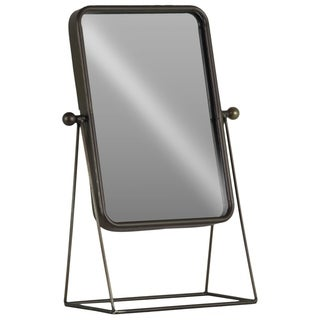 UTC38820: Metal Rectangular Tabletop Mirror with Soft Edges and Triangular Prism Legs Metallic Finish Gunmetal Gray - Grey