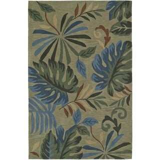 "ADDISON Nassau Tropical Palms Green/Multi Plush Area Rug - 3'6""X5'6"""