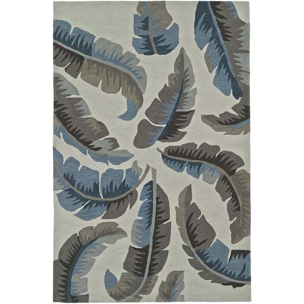 Addison Nau Banana Leaf Blue Plush Area Rug 9 X27