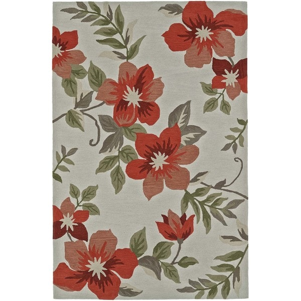 Shop Addison Nassau Tropic Floral Coral Ivory Plush Area