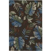 Addison Nassau Tropical Palm Brown/Multicolored Plush Area Rug - 8' x 10'