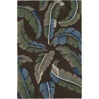 Addison Nassau Banana Leaf Brown/Multicolor Plush Area Rug - 8' x 10'
