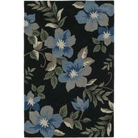 Addison Rugs Nassau Black/Multi Plush Tropical Floral Area Rug (8' x 10')