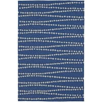 Addison Rugs Venice Dot Matrix Blue/Ivory Indoor-Outdoor Area Rug (5' x 7'6)