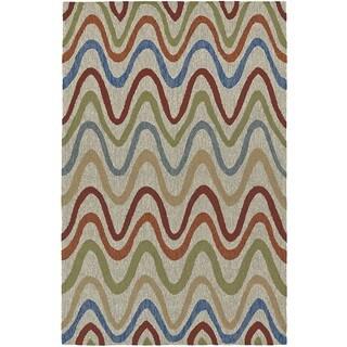 Addison Rugs Venice Linen/Multicolor Indoor/Outdoor Modern Chevron Area Rug - 8' x 10'