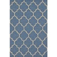 ADDISON Venice Moroccan Blue/Linen Indoor-Outdoor Area Rug (9' x 13')