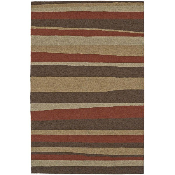 ADDISON Venice Modern Stripe Brown/Gold Indoor-Outdoor Area Rug (9'x13')