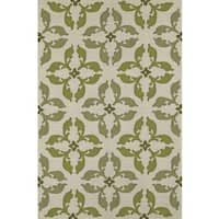 ADDISON Venice Geometric Floral Clover/Ivory Indoor-Outdoor Area Rug (9'x13')