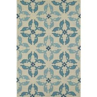 ADDISON Venice Geometric Floral Teal/Ivory Indoor-Outdoor Area Rug (9'X13')