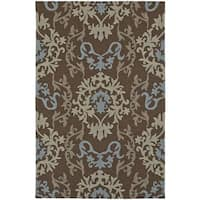 ADDISON Venice Damask Brown/Taupe Indoor-Outdoor Area Rug (9' x 13')