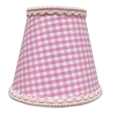 """Royal Designs Pink Gingham Empire Chandelier Lamp Shade with Decorative Trim, 3"""" x 5"""" x 4.5"""", Clip-On"""
