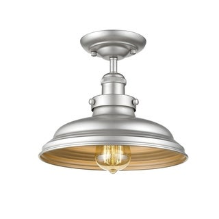 Chloe Transitional 1-light Silver Painted Semi-Flush Mount