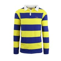 Men's Long Sleeve Striped Polo Shirts