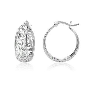 Mondevio Diamond-cut Filigree Swirl Hoop Earrings in Two-Tone Sterling Silver