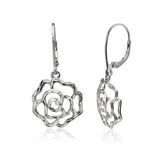 Mondevio Diamond-cut Rose Flower Dangle Leverback Earrings in Two-Tone Sterling Silver