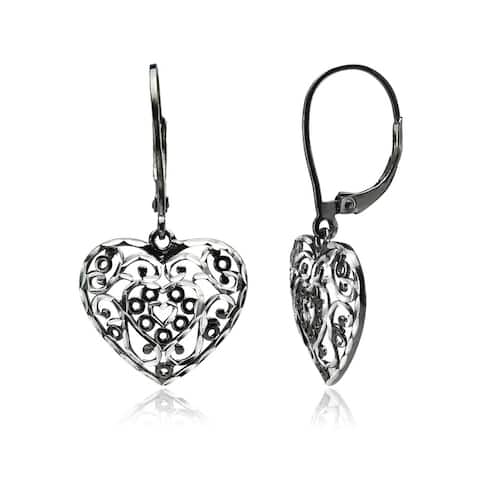Mondevio Diamond-cut Filigree Heart Dangle Leverback Earrings in Two-Tone Sterling Silver