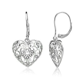 Mondevio Diamond-cut Filigree Heart Dangle Leverback Earrings in Two-Tone Sterling Silver
