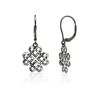 Mondevio Diamond-cut Celtic Heart Love Knot Leverback Earrings in Two-Tone Sterling Silver