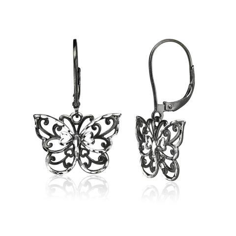 Mondevio Diamond-cut Filigree Butterfly Dangle Leverback Earrings in Two-Tone Sterling Silver