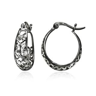 Mondevio Diamond-cut Filigree Swirl Small Hoop Earrings in Two-Tone Sterling Silver