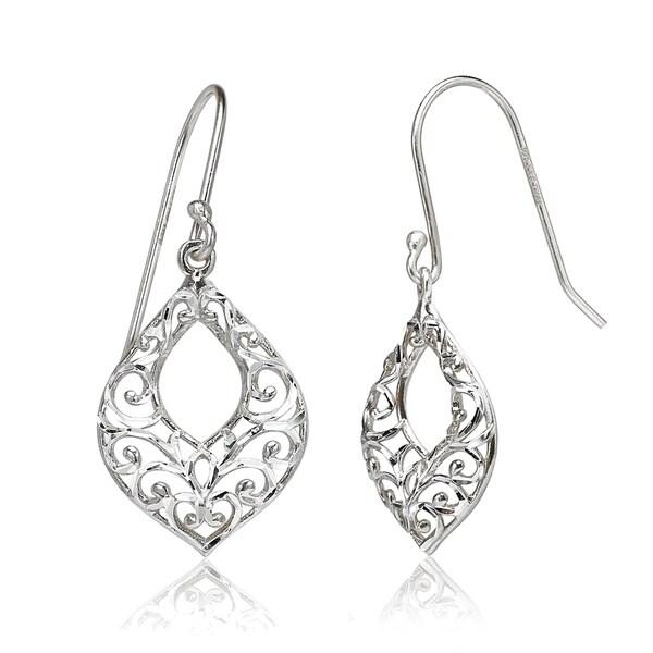 60432c14f662c Shop Mondevio Diamond-cut Filigree Open Teardrop Dangle Earrings in ...