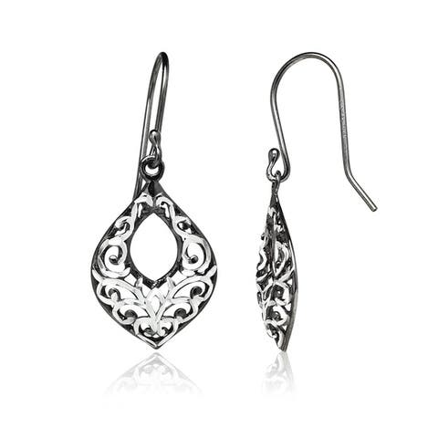 Mondevio Diamond-cut Filigree Open Teardrop Dangle Earrings in Two-Tone Sterling Silver
