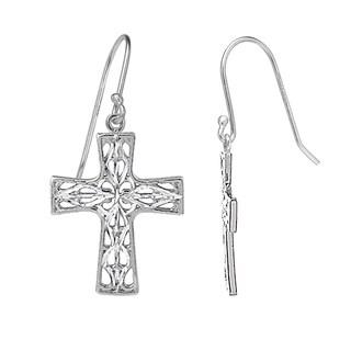 Mondevio Diamond-cut Filigree Cross Dangle Earrings in Two-Tone Sterling Silver