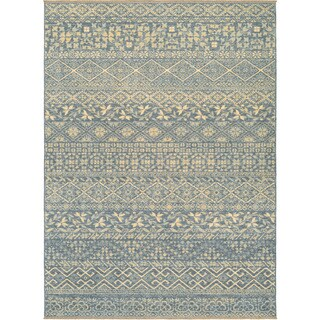 Couristan Elegance Ophelia Azure-tan Wool Rug (8'2 x 11'3) (As Is Item)