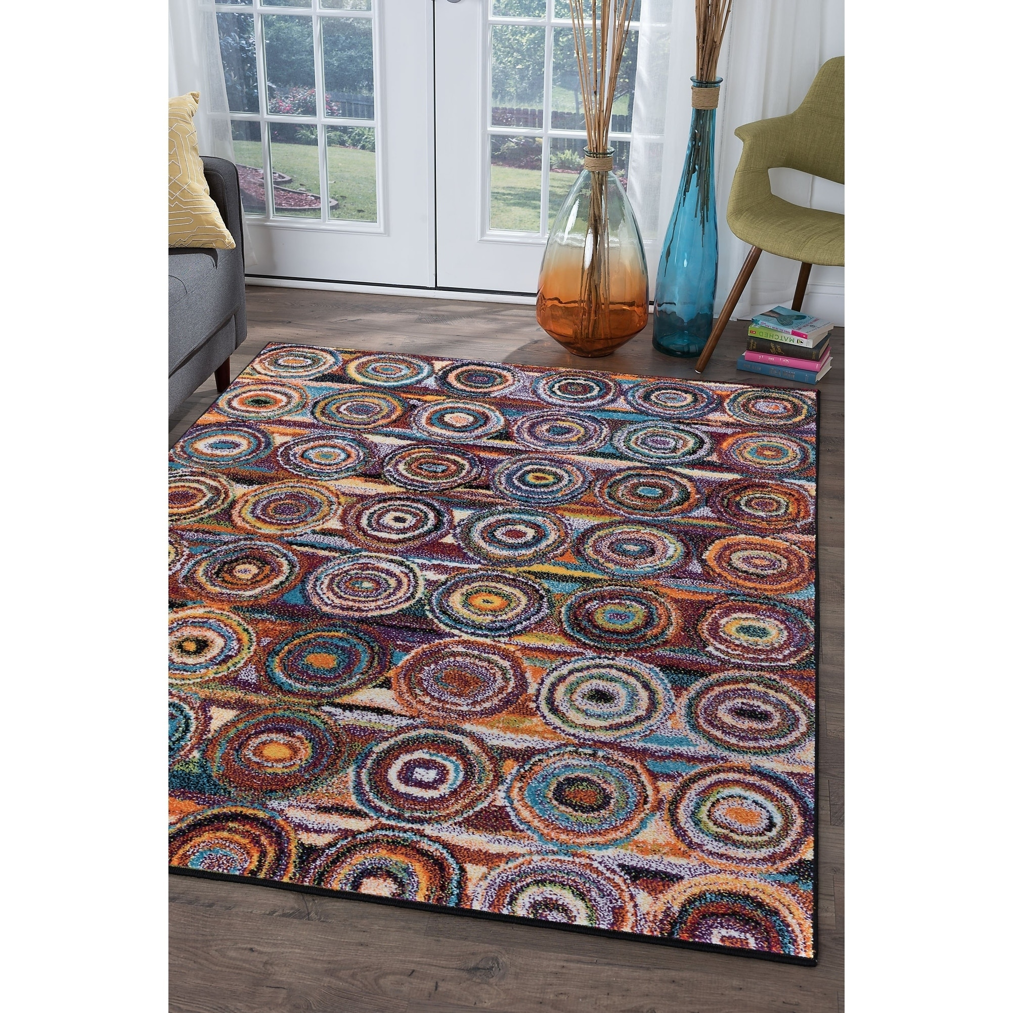 Alise Rugs Rhapsody Contemporary Circles Area Rug - multi - 53 x 73 (53 x 73 - Moderate Traffic)