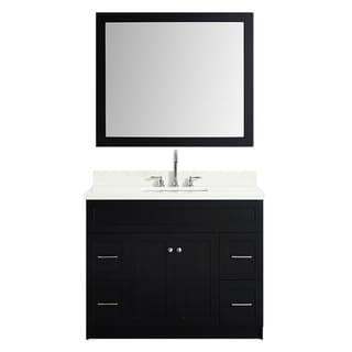Ariel Hamlet 43 In. Single Sink Vanity Set With White Quartz Countertop In Black