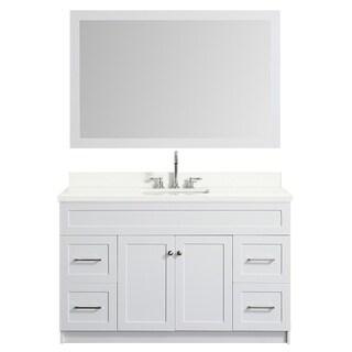 Ariel Hamlet 55 In. Single Sink Vanity Set With White Quartz Countertop In White