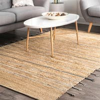 """nuLoom Contemporary Hand-loomed Striped Jute/Cotton Natural Rug (7'6 x 9'6) - 7'6"""" x 9'6"""""""