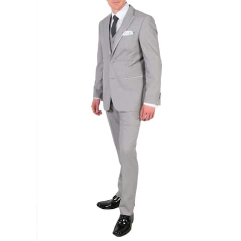 Ferrecci Mens Grey Slim Fit Peak 3pc Tuxedo - Slacks, Jacket, and Vest Set