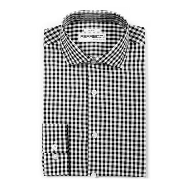 Ferrecci Mens Slim Fit Cotton Gingham Check Dress Shirts