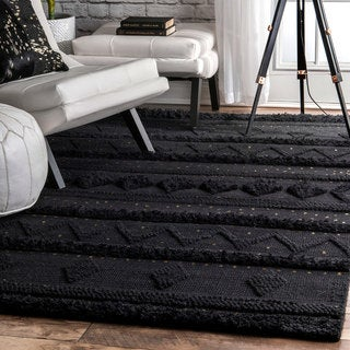 nuLOOM Black Hand Woven Contemporary Wool Raised Geometric Shag Rug