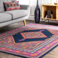 nuLoom Navy Blue/Pink Traditional Geometric Area Rug (8' x 10')