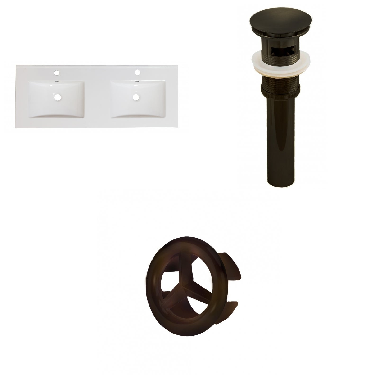 59-in. W 1 Hole Ceramic Top Set In White Color - Overflow Drain Incl.