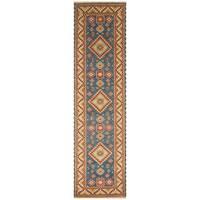 Handmade Herat Oriental Indo Hand-Knotted Kazak Wool Runner (India) - 2'6 x 10'
